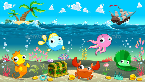 Scene under the Sea.  - Animals Characters