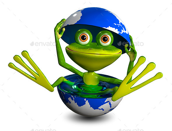 Frog in a Globe - Characters 3D Renders