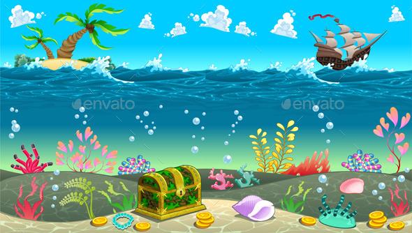 Scene under the Sea.  - Landscapes Nature