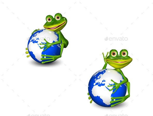 Frog on Globe - Characters 3D Renders