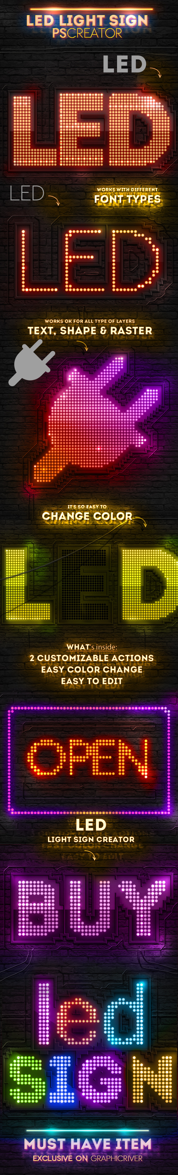 LED Lights Sign Photoshop Creator - Utilities Actions