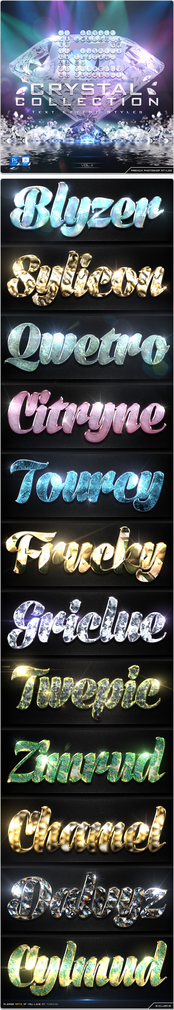 12 Crystal Collection Text Effect Styles Vol.4 - Text Effects Styles