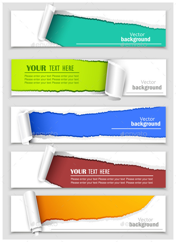 Set of Banners with Torn Corners - Commercial / Shopping Conceptual
