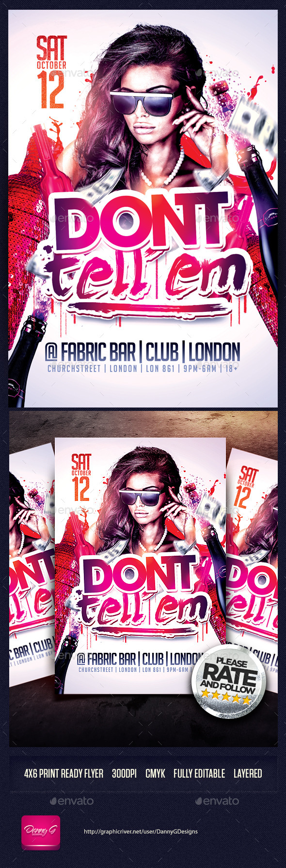 Don't Tell Em Flyer Template PSD - Clubs & Parties Events