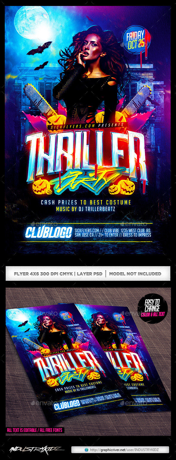 Thriller Halloween Party Flyer - Holidays Events