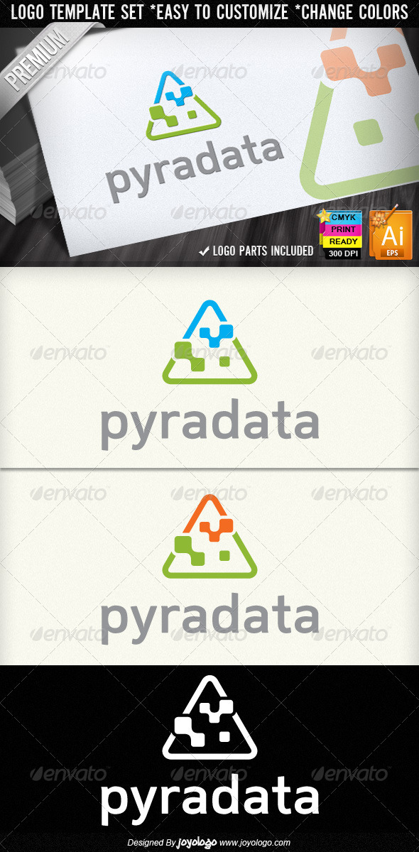 Pyramid Data Abstract Digital Computers Logos - Objects Logo Templates