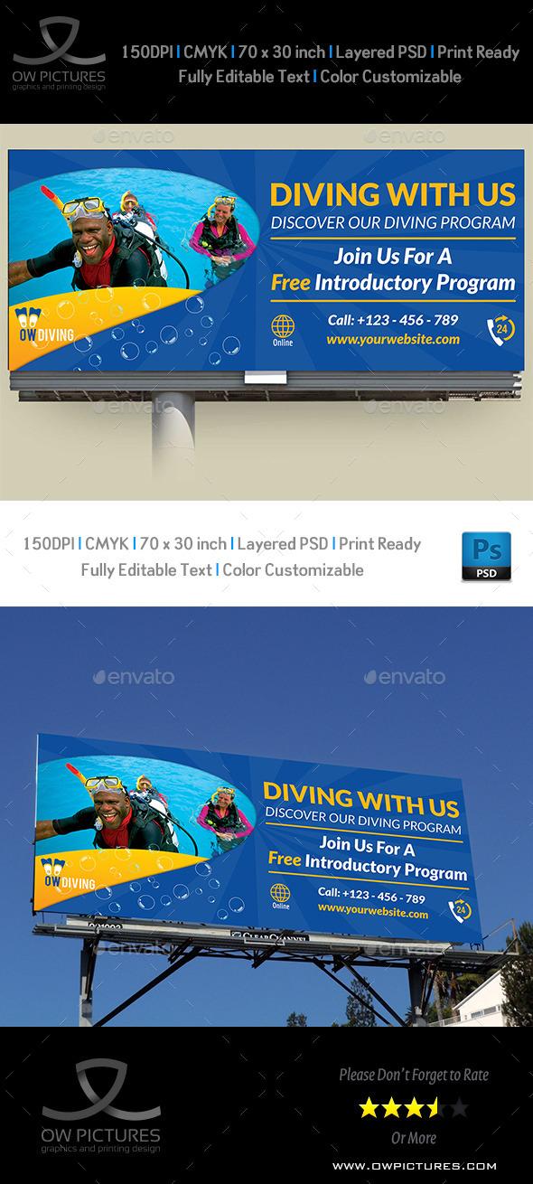 Diving Billboard Template Vol2 - Signage Print Templates