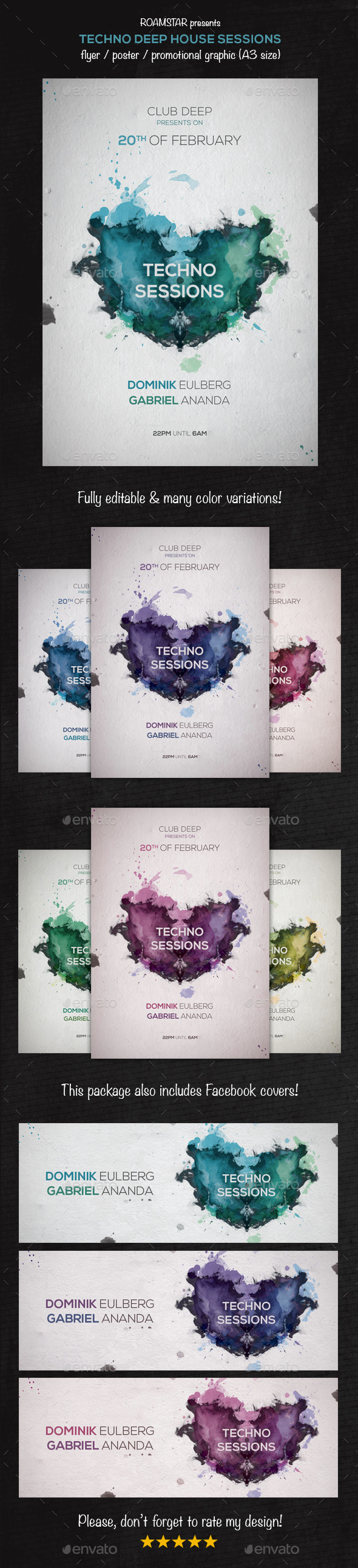 Flyer Techno Deep House Party - Clubs & Parties Events