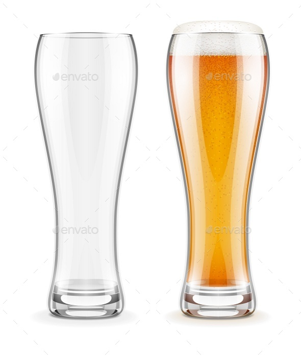 Empty Transparent Glasses and Full of Beer - Man-made Objects Objects