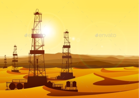 Landscape with Oil Rigs in Barren Desert - Industries Business
