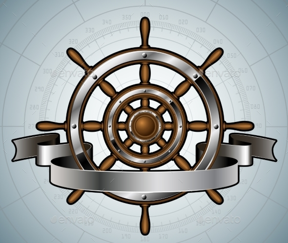 Ship Steering Wheel with Banner. - Travel Conceptual