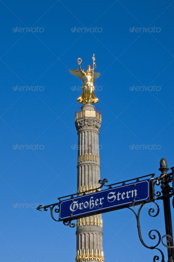 Siegessaeule with street sign - Stock Photo - Images