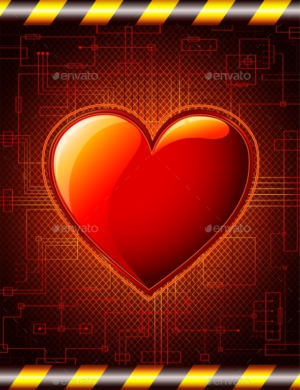 Valentines Background with Glossy Heart - Valentines Seasons/Holidays