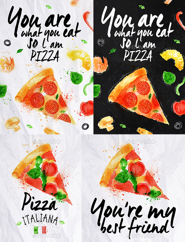 Pizza Watercolor Poster  - Food Objects