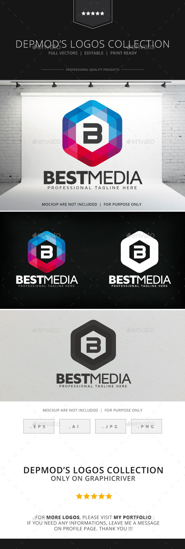 Best Media Logo - Letters Logo Templates