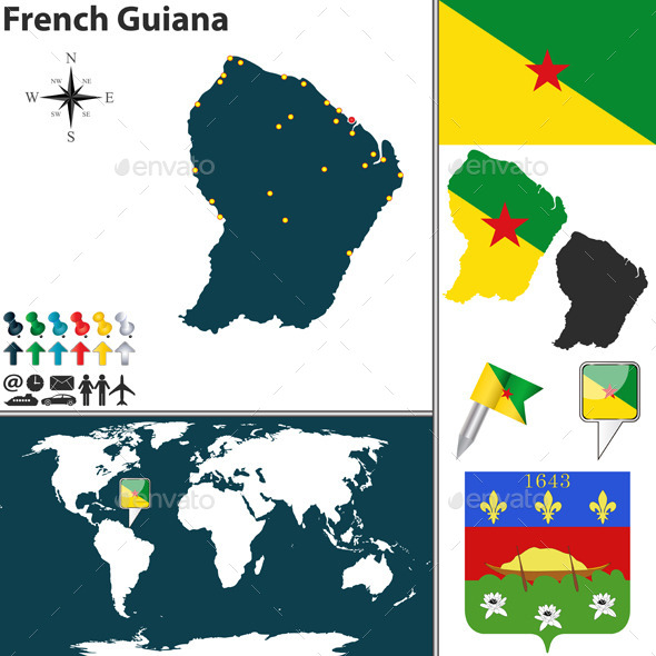 Map of French Guiana - Travel Conceptual