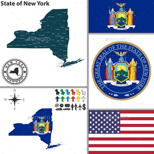 Map of state New York, USA - Travel Conceptual