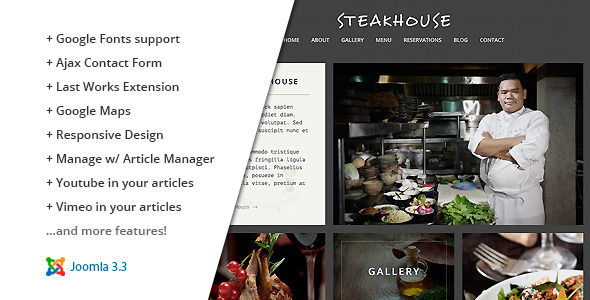 Steakhouse :: Responsive Retina Joomla Restaurant - Business Corporate