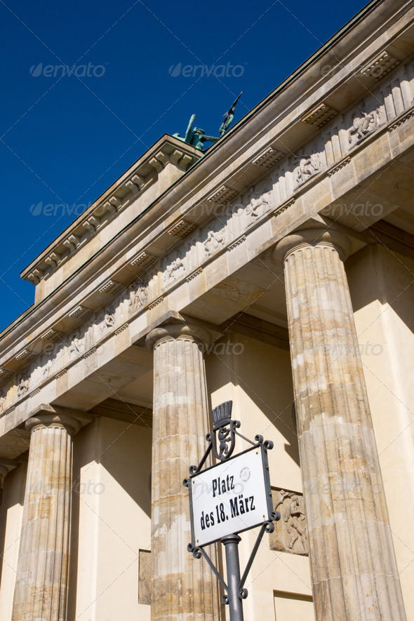 Brandenburger Tor and street sign - Stock Photo - Images