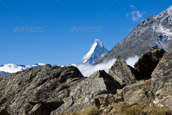 The Matterhorn appears - Stock Photo - Images