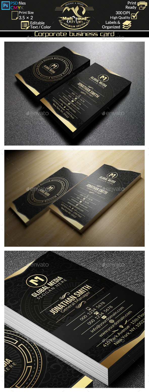 Gold Corporate Business Card 47 - Corporate Business Cards