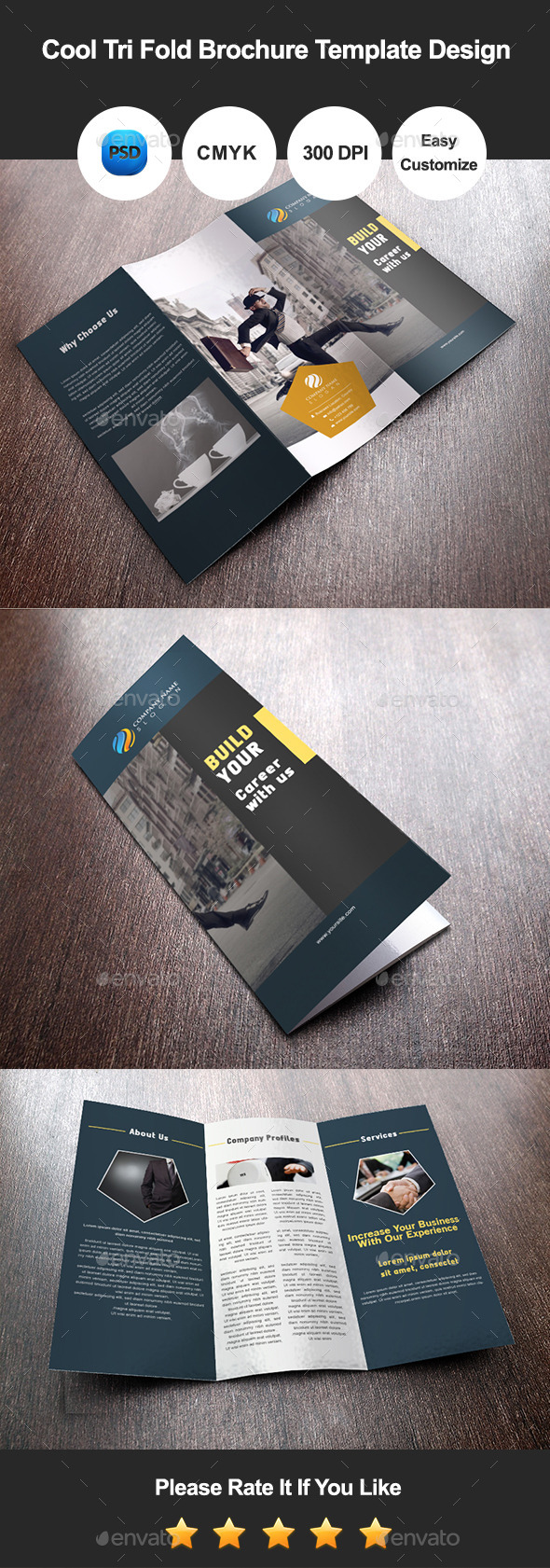 Cool Tri Fold Brochure Template Design - Corporate Brochures