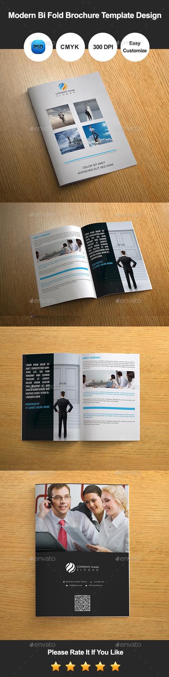 Modern Bi Fold Brochure Template Design - Corporate Brochures