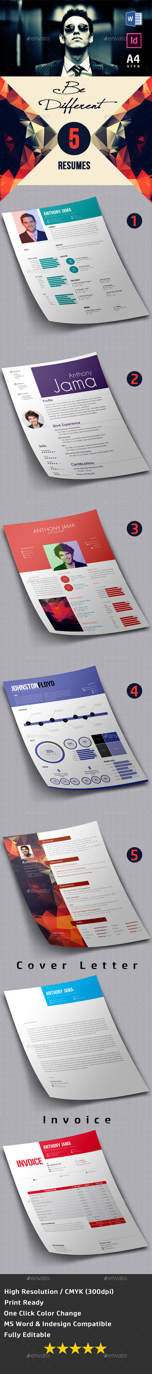 5 Resumes/CV Pack - Resumes Stationery