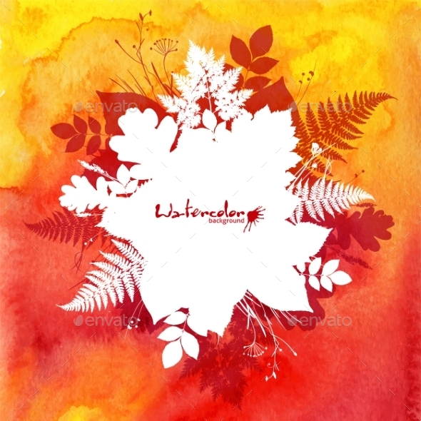 Orange Watercolor Background with Leaves - Flowers & Plants Nature