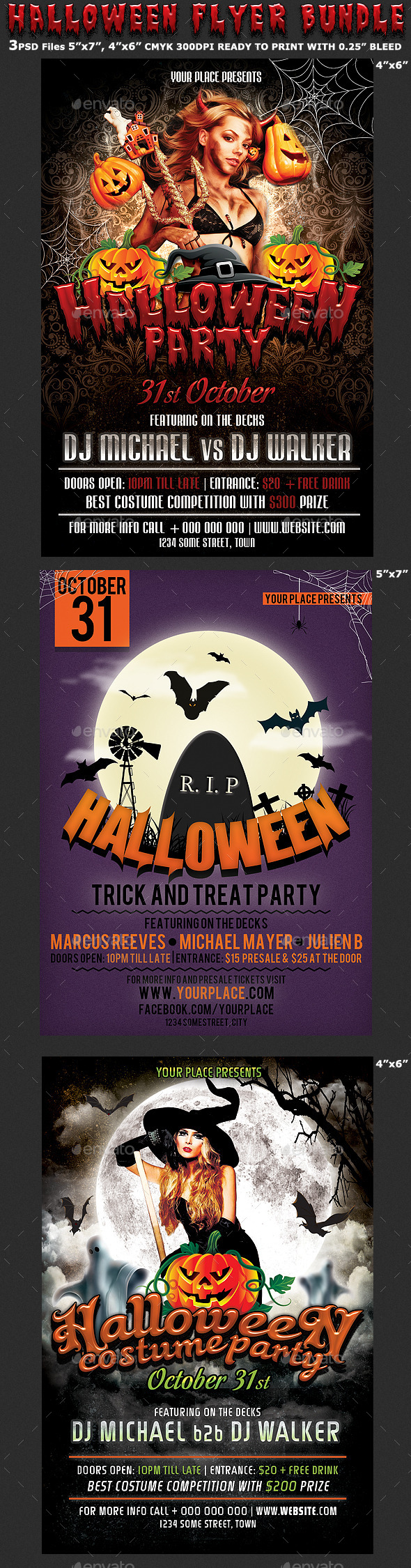 Halloween Party Flyer Bundle 3in1 - Clubs & Parties Events