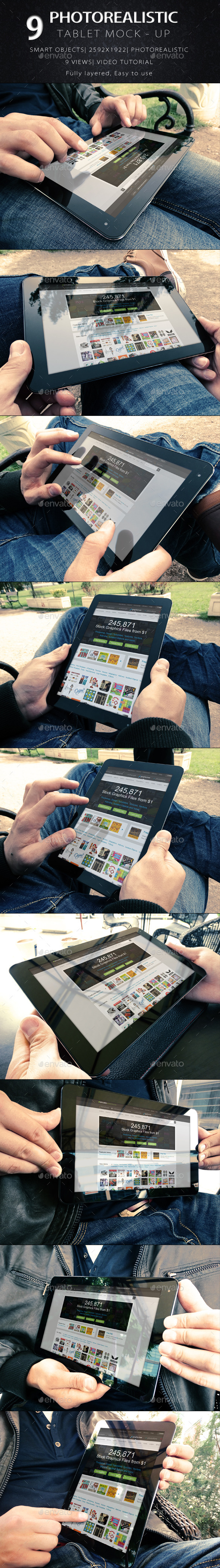 9 Photorealistic Tablet With Hands Mock-Up V2 - Mobile Displays