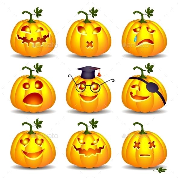 Set of Pumpkins for Halloween - Halloween Seasons/Holidays
