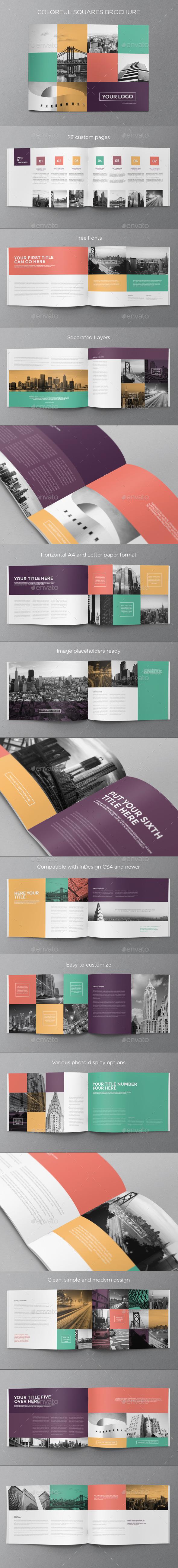 Colorful Squares Brochure - Brochures Print Templates