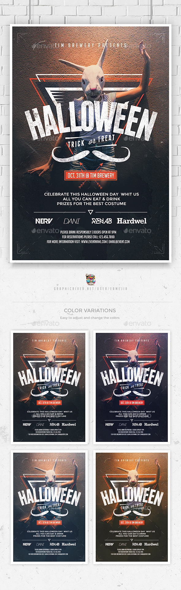 Hipster Halloween Flyer Template - Events Flyers