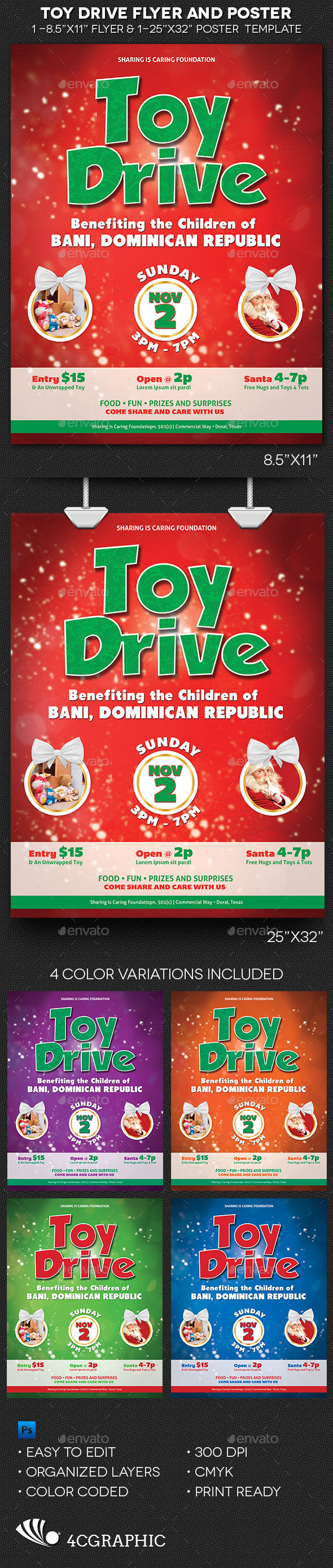 Toy Drive Flyer and Poster Template  - Holidays Events