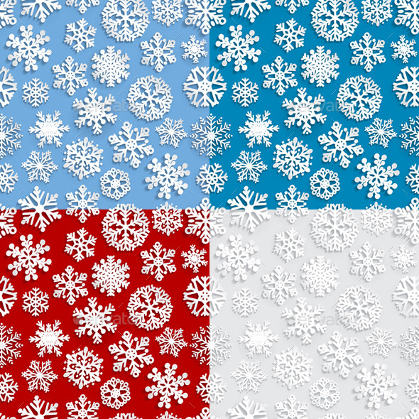 Seamless Patterns of Paper Snowflakes - Christmas Seasons/Holidays