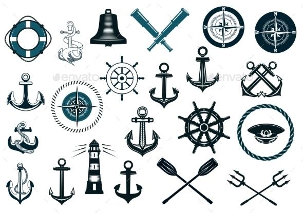 Set of Nautical Icons - Decorative Symbols Decorative