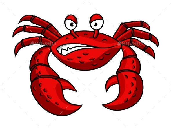 Cartoon Red Crab Character - Animals Characters