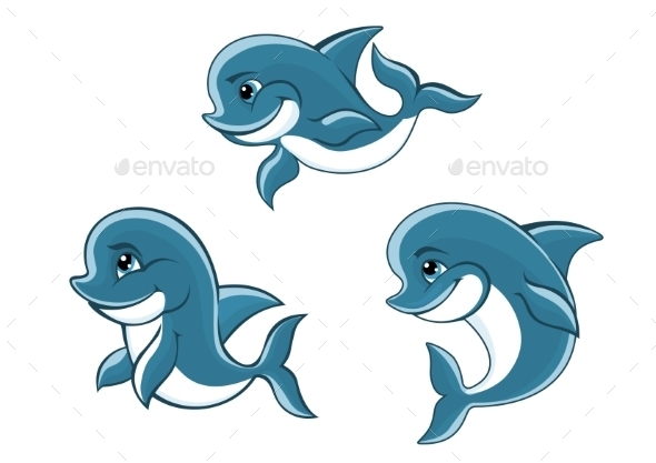 Cartoon Little Blue Dolphins - Animals Characters