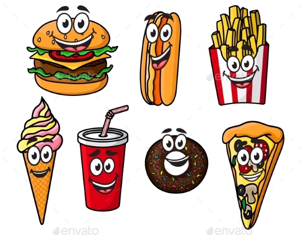 Happy Colorful Takeaway Cartoon Food - Food Objects