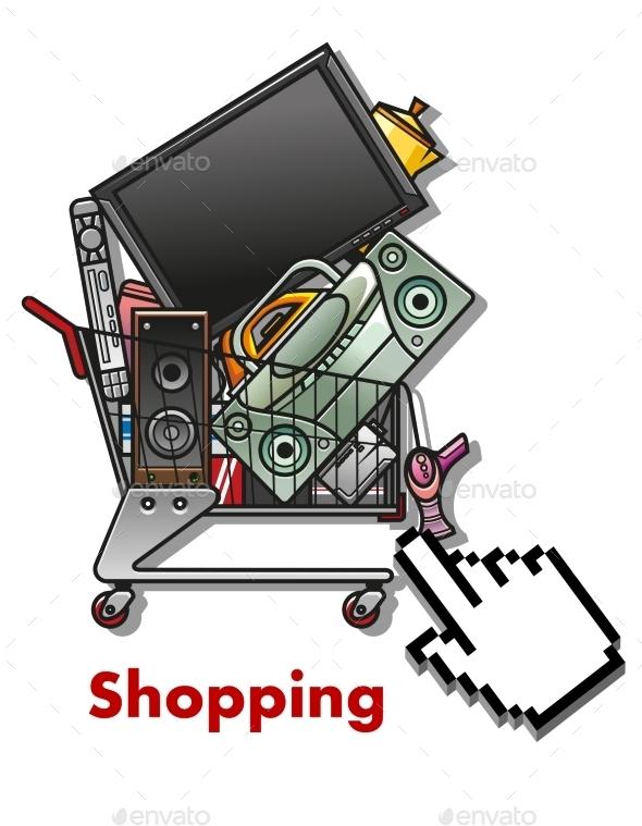 Shopping Cart with Household Appliances - Retail Commercial / Shopping