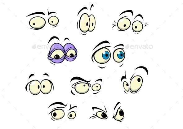 Set of Cartoon Eyes - People Characters