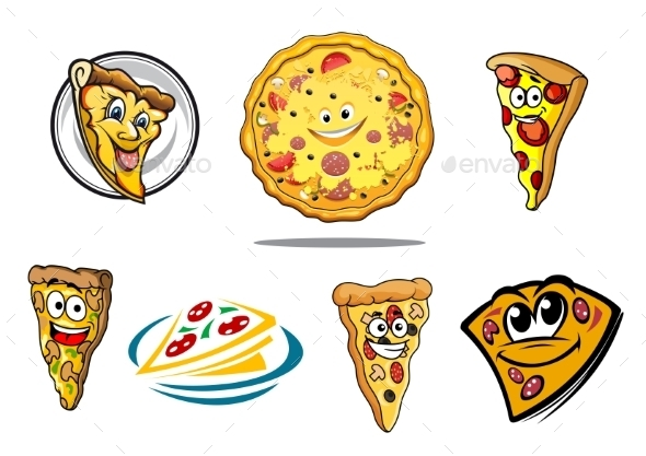 Colorful Cartoon Pizza Characters and Icons - Food Objects