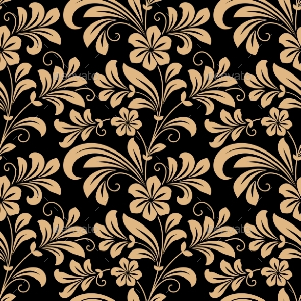 Floral Seamless Pattern with Gold Flowers - Patterns Decorative