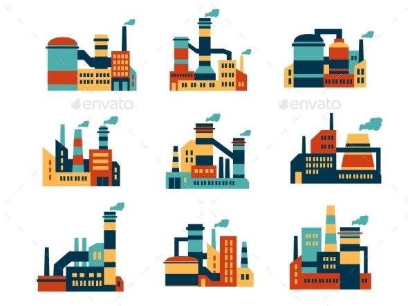 Flat Industrial Buildings and Factories Icons - Industries Business