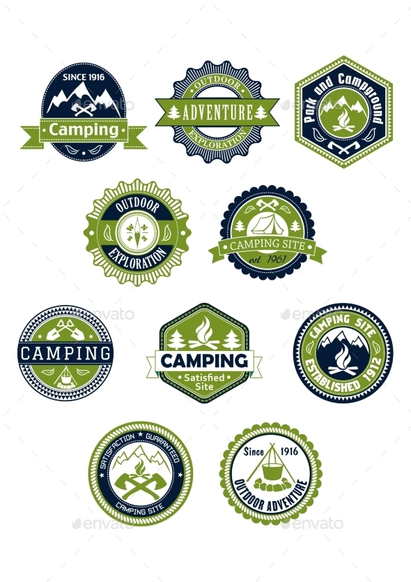 Camping and Travel Icons or Badges - Travel Conceptual