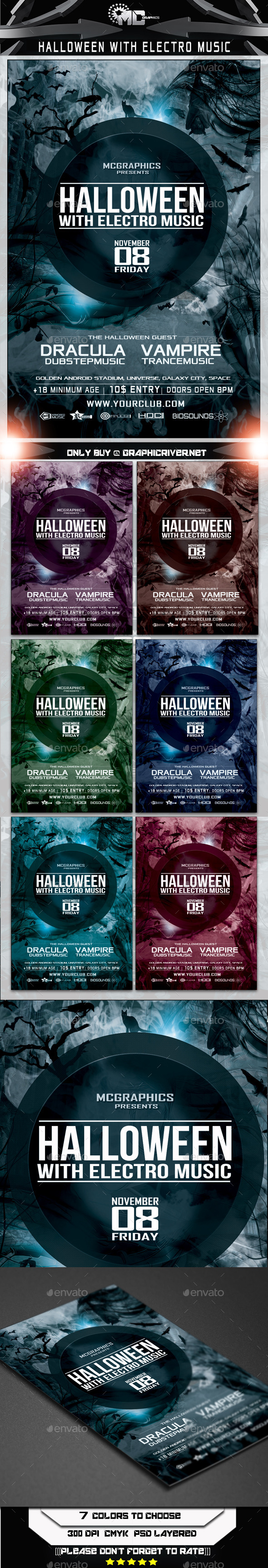 Halloween With Electro Music Flyer Template
