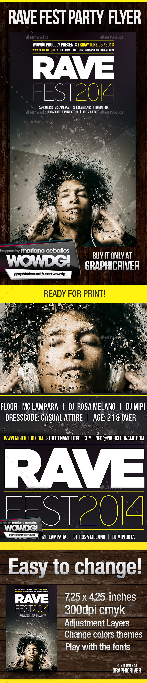 Rave Fest - Flyers Print Templates