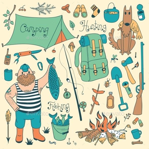 Fishing - hunting and Camping Set - Sports/Activity Conceptual