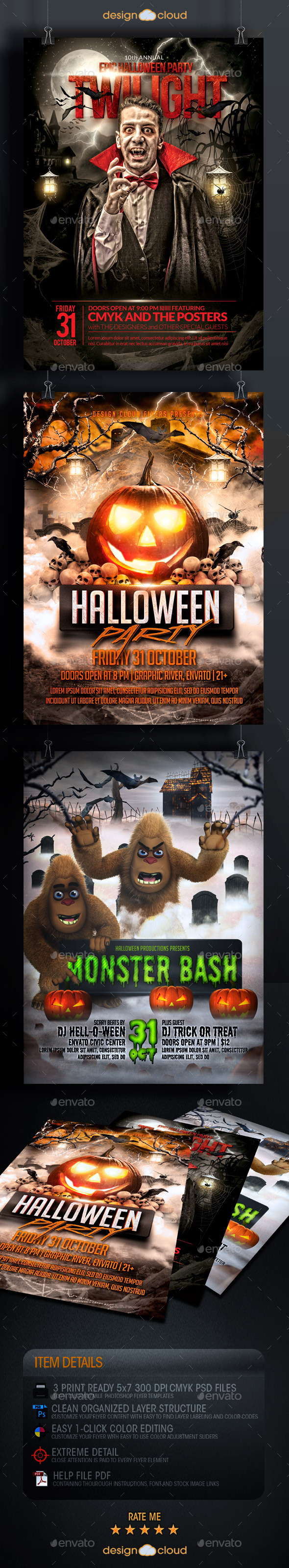 Halloween Flyer Template Bundle - Holidays Events